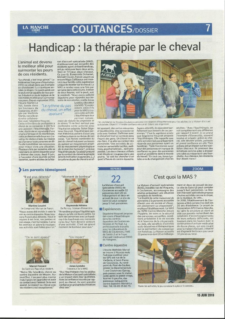 article de La Manche Libre de Coutances du 14 juin 2019