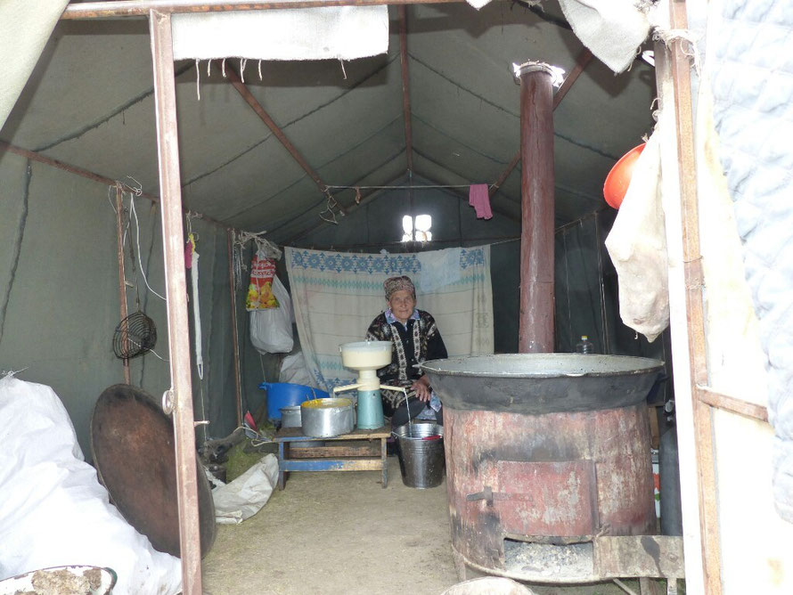 Jeden Vormittag wird gut eine Stunde gekurbelt. Die frisch gemolkene Kuhmilch wird in Sahne und Milch getrennt.