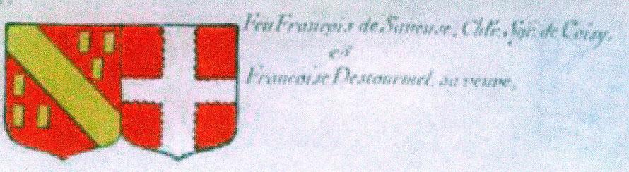 """"""" De gueules, à une bande d'or, accompagnée de six billettes de même, posée en orle, trois en chef, trois en pointe; acolé:de gueules a une croix engrêlée d'argent."""" (Armorial général de France, dressé en vertu de l'édit de 1696 par Charles d'HOZIER.)"""