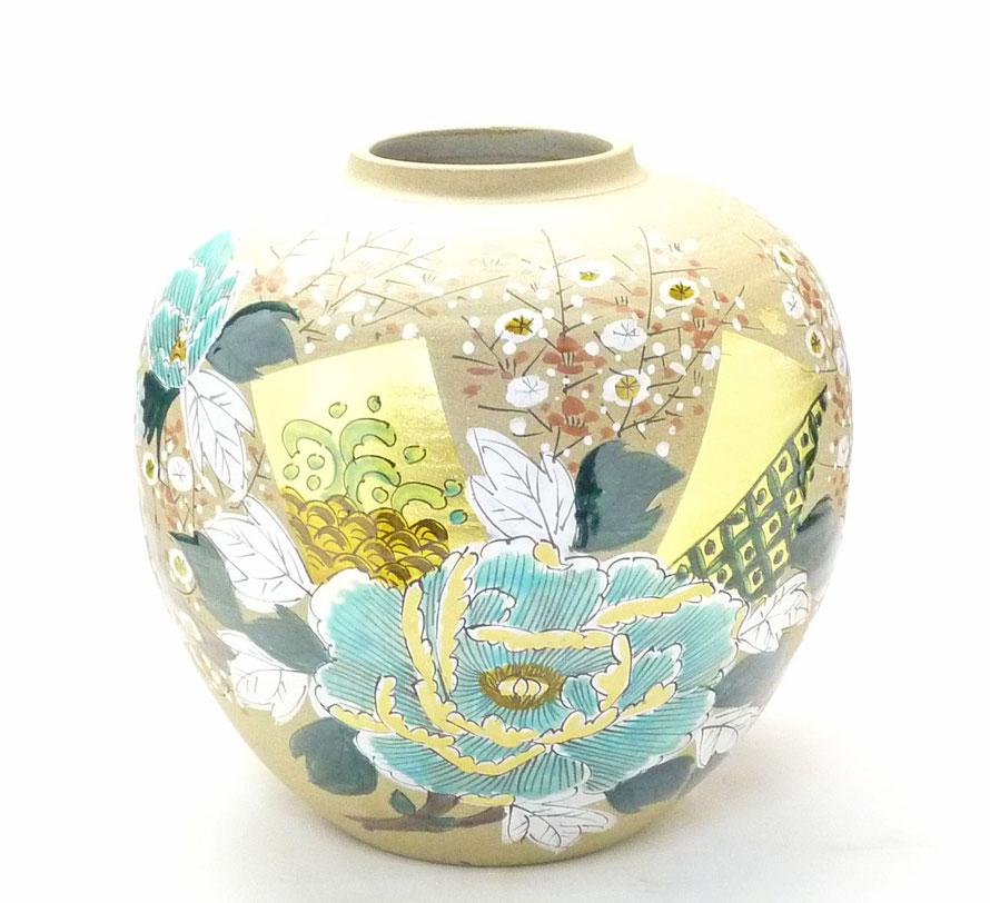 九谷焼通販 おしゃれな花瓶 花器 金箔 牡丹 梅