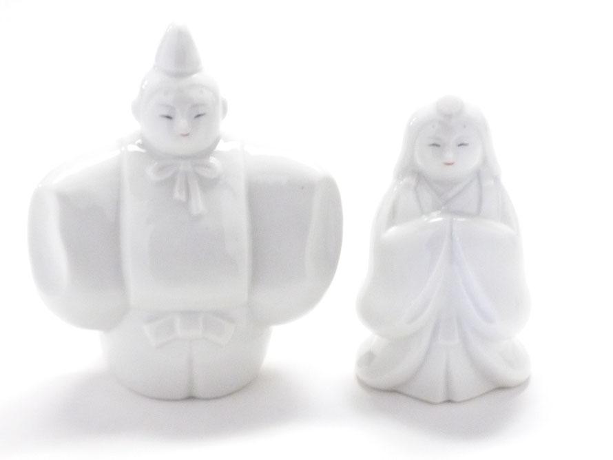 九谷焼 雛人形 お雛様 初節句 ホワイト 立雛 4号 裏書 木箱台付