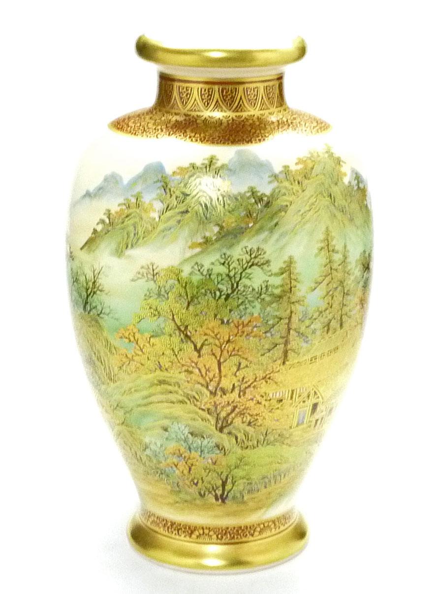 九谷焼通販 おしゃれな花瓶 花器 本金 秋の図 正面の図