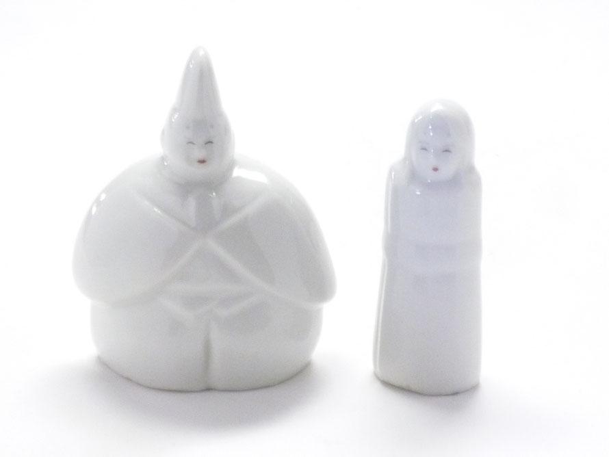 九谷焼 雛人形 お雛様 初節句 ホワイト 立雛 5.5号 裏書 木箱台付