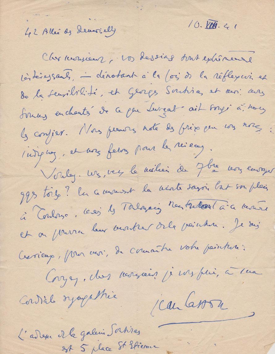 Lettre de Jean Cassou adressée à Jean Milhau afin d'exposer des dessins à la galerie Soutiras à Toulouse