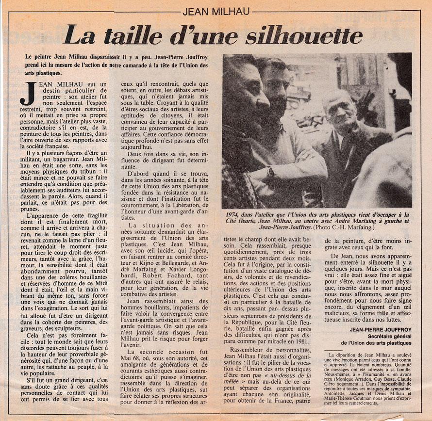 Article de Jean-Pierre Jouffroy dans L'Humanité, mai 1985