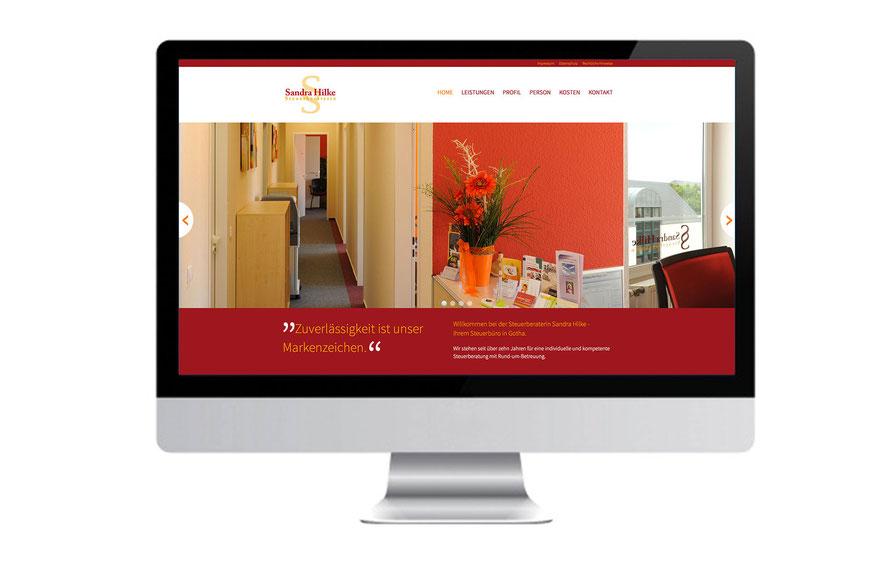 Die Internetseite des Steuerbüros Hilke