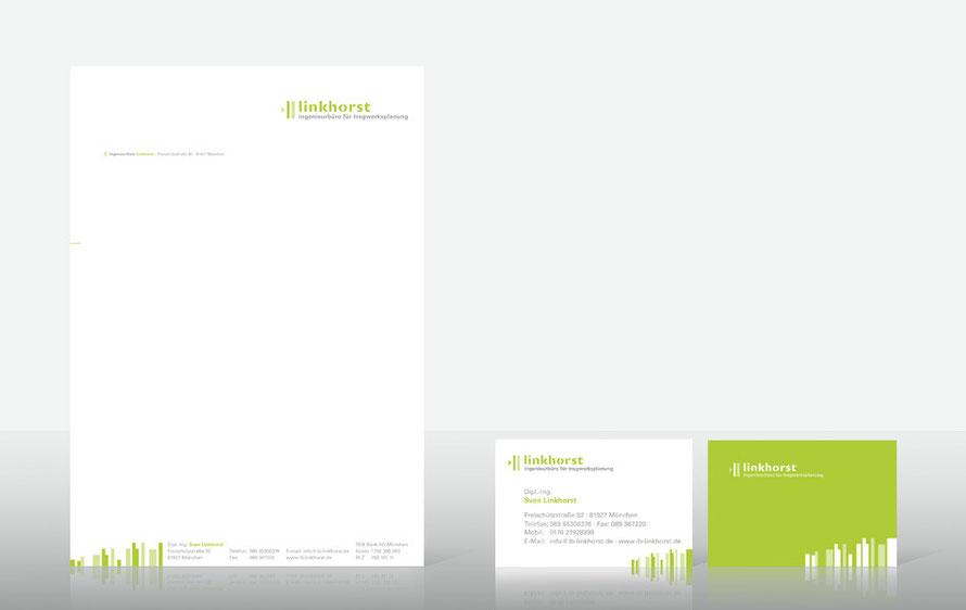 Geschäftsausstattung für das Ingenieurbüro Linkhorst
