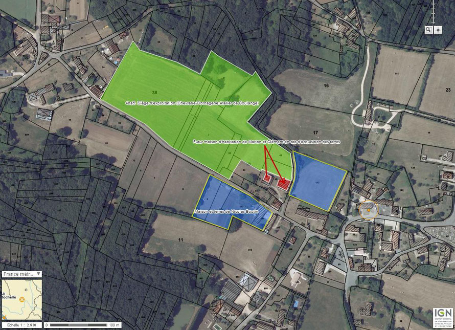 Photographie aérienne du siège d'exploitation de CAUNAY