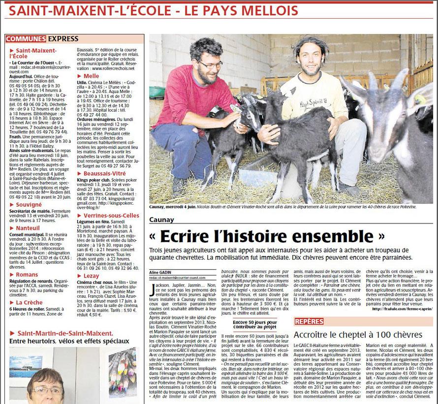 L'article du COURRIER de L'OUEST du mardi 10 juin 2014