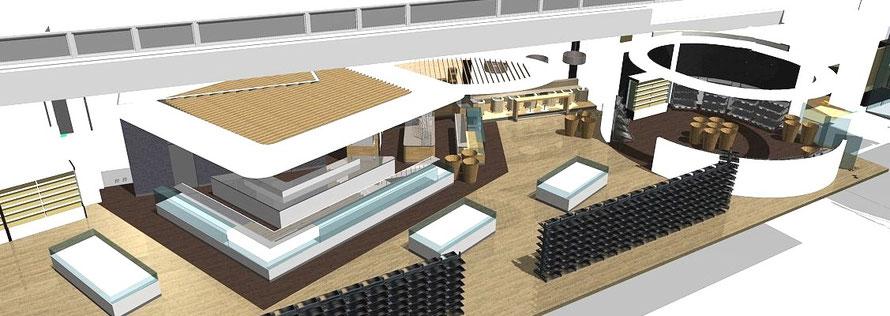 3D-Ansicht neuer Frischebereich mit Feinkost, Brot, Café und rechts die neue Obst-Gemüse-Arena