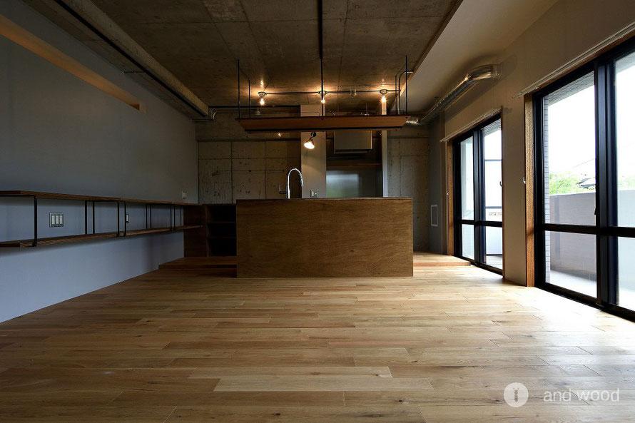オーク 無垢 フローリング 幅広 マンション リノベーション 施工例 アンドウッド andwood