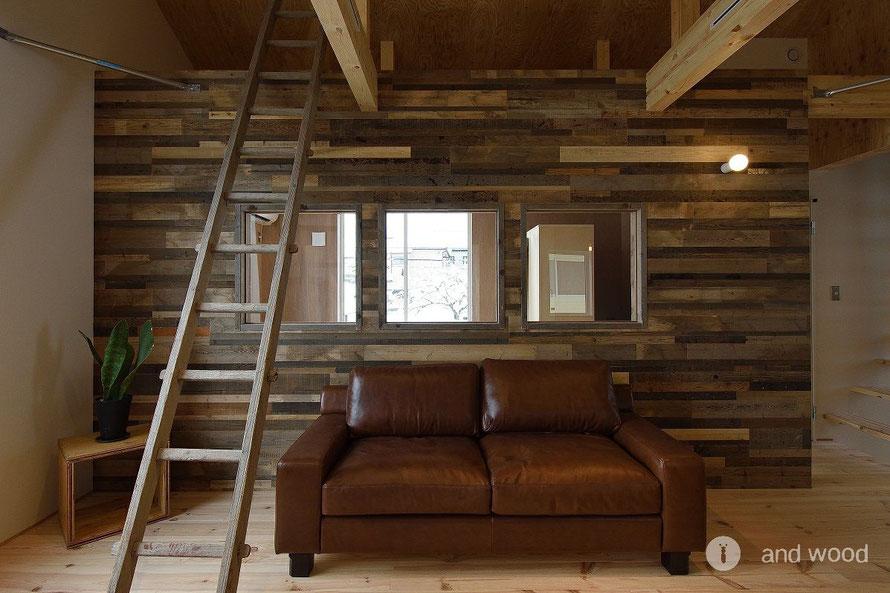 ビンテージボード 施工例 andwood アンドウッド フローリング 壁