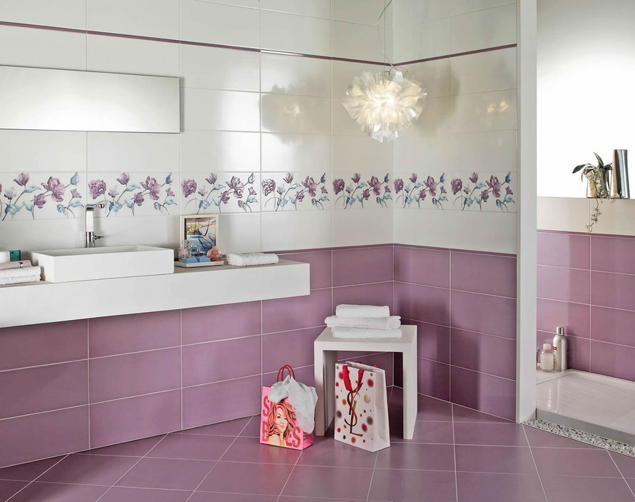 Mattonelle bagno rosa cipria opremite kopalnico na sodoben način