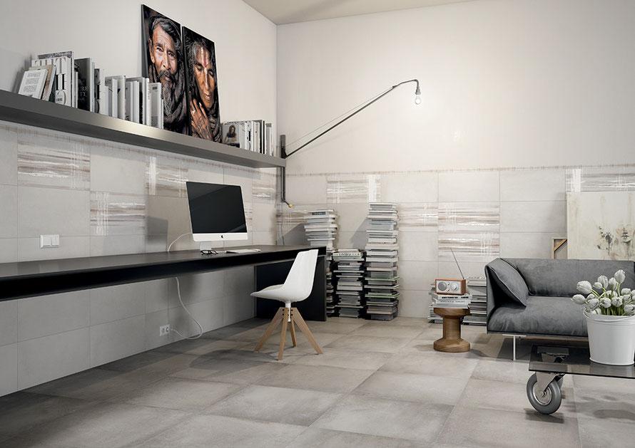 Pavimento e rivestimento Reverse disponibile in due formati 30x60 e 60x60 abbinato all'inserto melt. Un gres moderno perfetto per tutte le stanze della casa