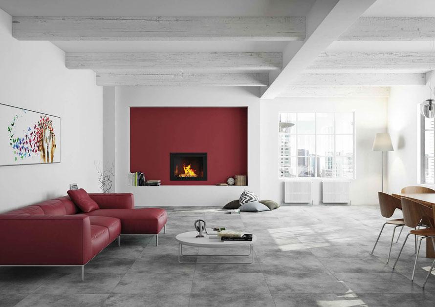 """Essential è la piastrella in grande formato in gres effetto cemento capace di conferire raffinatezza all'ambiente. Disponibile in 5 tonalità ora con il nuovo inserto a pavimento """"lace""""."""