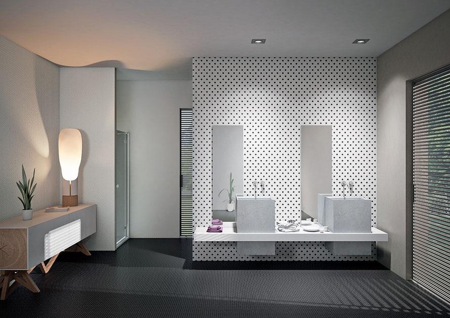 La serie Day&Night riveste pareti e pavimenti con eleganza. é proposta nel formato classico 2,5x2,5 o nell'esclusivo formato esagonale.