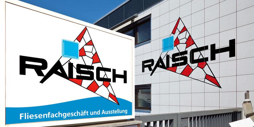 Raisch Fliesenfachgeschäft - Ausstellung: Großformatfliesen, Bisazza Glasmosaik, Natursteinplatten. Außenansicht.