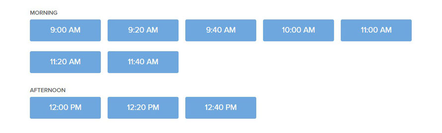 Beachside Community Acupuncture PLLC online scheduler screenshot of appointment times