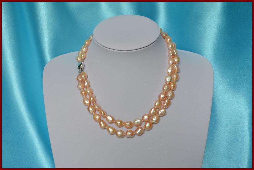 Collier double rangs en perles baroques roses
