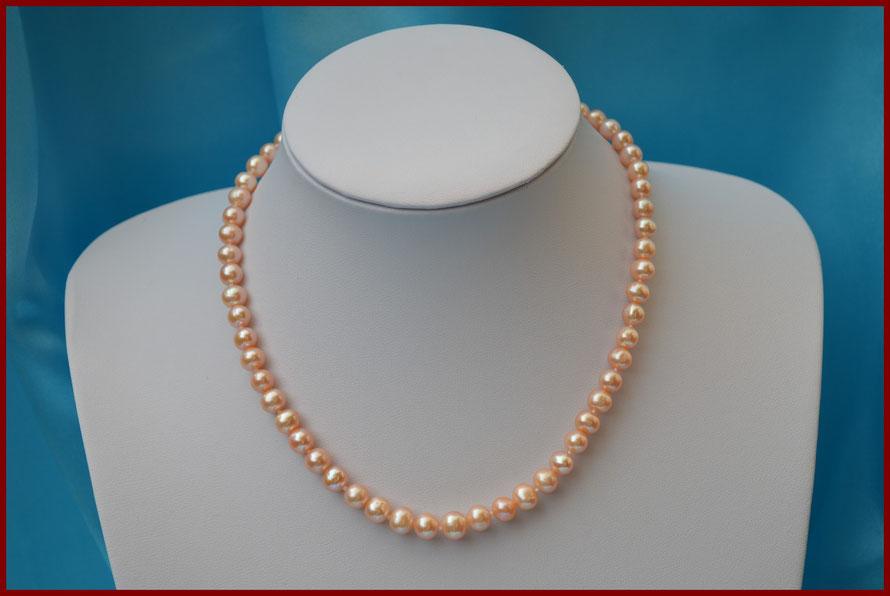 Collier ras de cou de perles rondes roses de 7/7,5 mm