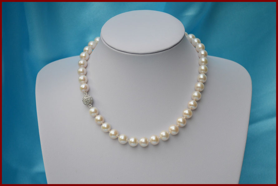 Collier de perles rondes blanches de 10/11 mm