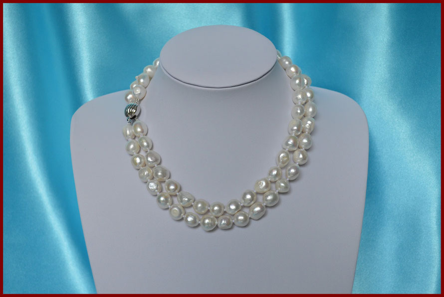 Collier double rangs en perles baroques blanches