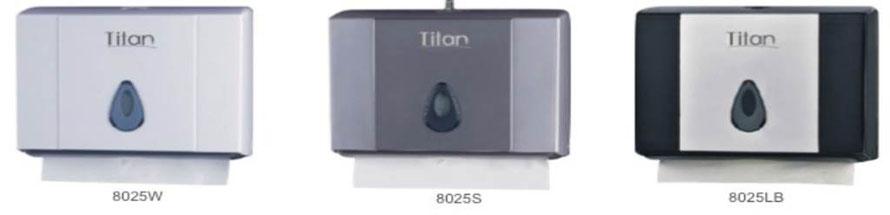 8025W, 8025S, 8025LB, Dispensador de Toalla Interdoblada. Colores: Blanco, Gris y Gris con Negro respectivamente. Medidas: 270X100X211 mm