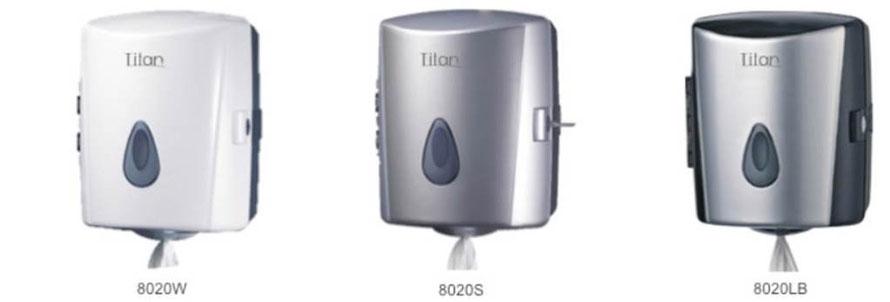 8020W, 8020S, 8020LB, Dispensador de Fluido Céntrico. Colores Blanco, Gris y Gris con Negro respectivamente.  Medidas: 263X231X326 mm