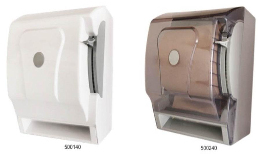 500140, 500240, Dispensador de Toalla en Rollo Blanco y Humo respectivamente. Material: Plástico ABS