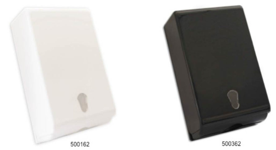 500162, 500362, Dispensador de Toalla Interdoblada Premium Blanco y Negro respectivamente. Material: Plástico ABS