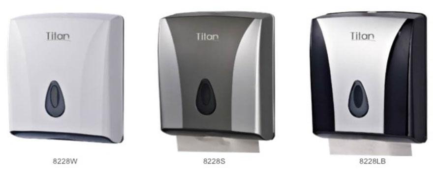 8228W, 8228S, 8228LB Dispensador de Toalla Interdoblada. Colores: Blanco, Gris y Gris con Negro respectivamente. Medidas: 260X130X300 mm