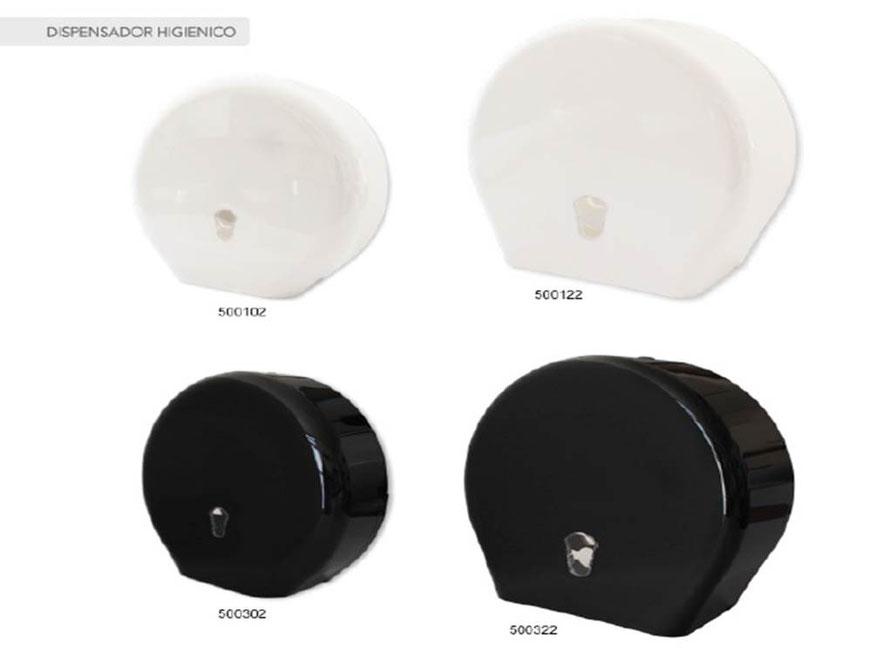 500102, 500122, 500302, 500322, Dispensador de papel higiénico, Blanco y Negro respectivamente. Tamaño: Master y Juniro. Material: Plástico ABS