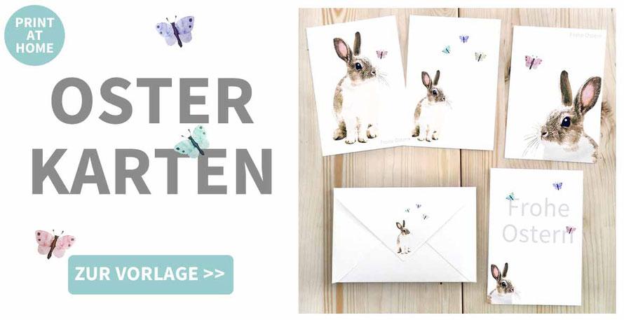 Osterkarte, selbst drucken, basteln, Karte zu Ostern, Osterhase, Vorlage, Druckvorlage, Ostergeschenk, Ideen zu Ostern