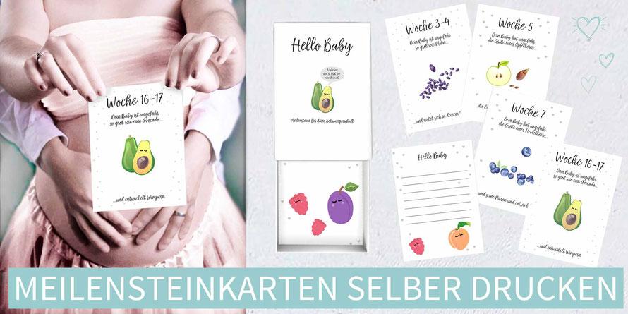 diy, karten, basteln, Meilensteinkarten, Baby, Schwangerschaft, Geschenk, Geschenk zur Geburt, ausdrucken, Geschenk zur Geburt, Geschenk Babyparte, Geschenk Babyshower, Geschenk zur Geburt selber machen, Vorlage, Druckvorlage, Babys erstes Jahr in Karten