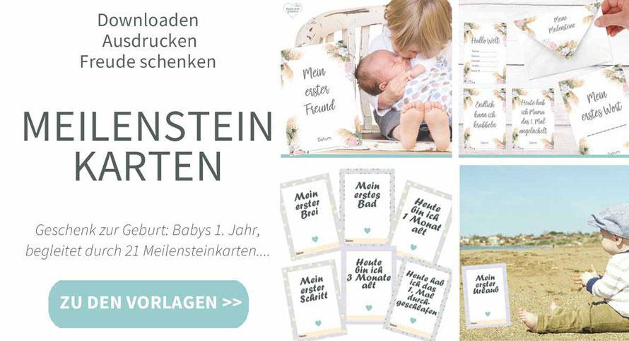 diy, karten, basteln, Meilensteinkarten, Baby, Geburt, Geschenk, Geschenk zur Geburt, ausdrucken, Geschenk zur Geburt, Geschenk Babyparte, Geschenk Babyshower, Geschenk zur Geburt selber machen, Vorlage, Druckvorlage, Babys erstes Jahr in Karten