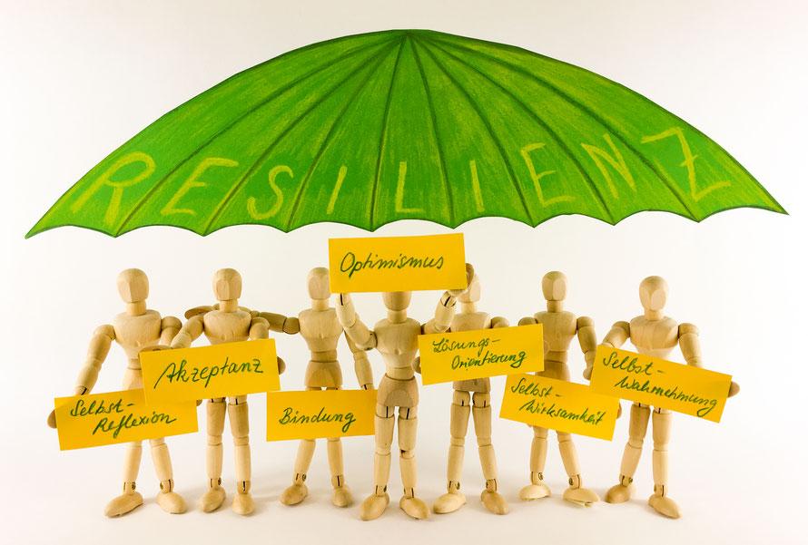 Resilienz, Resilienz-Training, sieben Säulen der Resilienz, Selbstwirksamkeit, Selbstwahrnehmung, Akzeptanz, Selbstreflexion, Optimismus, Bindung, Lösungsorientierung, Stressmanagement