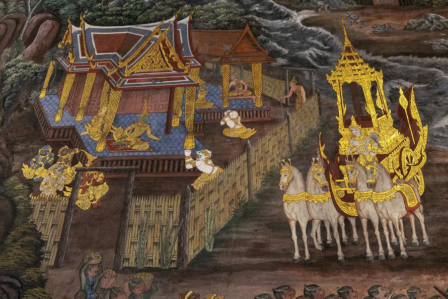 Ilgąjį Bankoko Didžiųjų karališkųjų rūmų sienos piešinį sudaro 178 epizodai