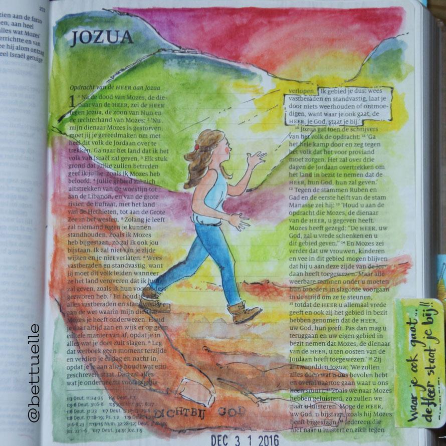 Voorbeeld biblejournaling Jozua 1:9