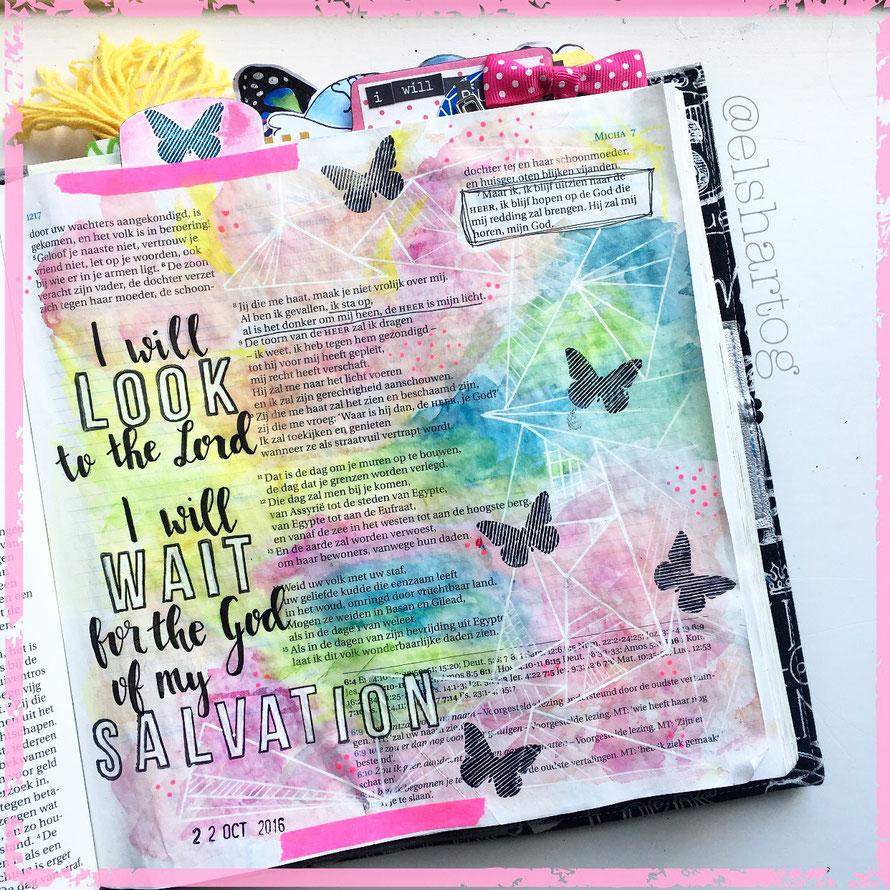 Biblejournaling voorbeeld Micha 7:7