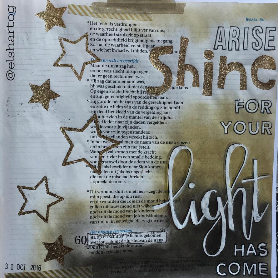Biblejournaling voorbeeld Jesaja 60:1