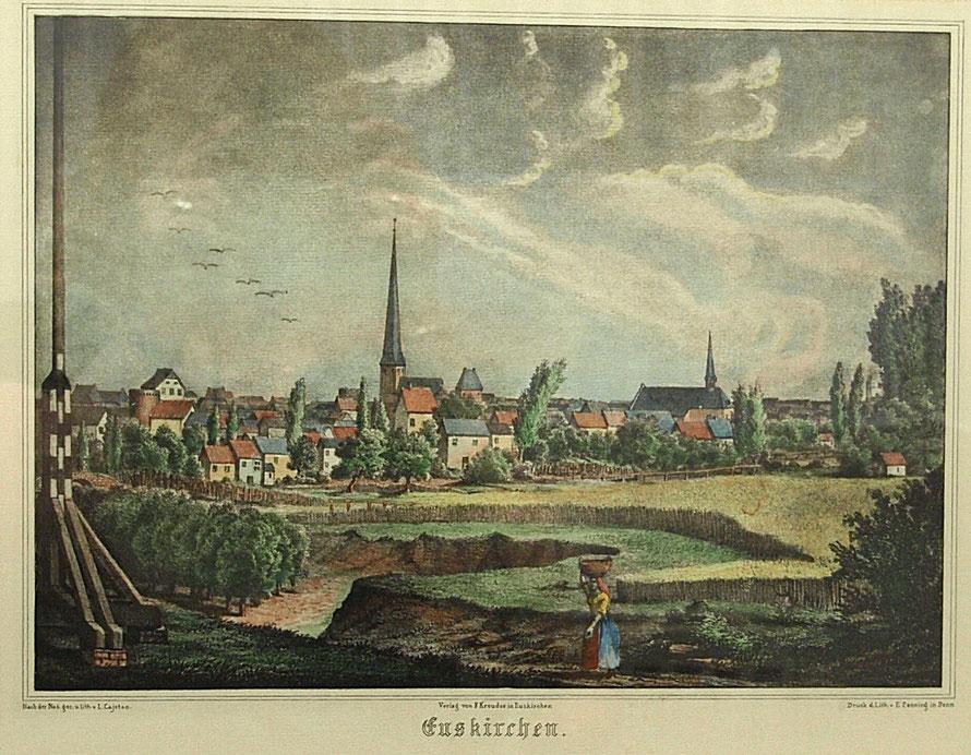Stadtansicht von Euskirchen ca. 1845