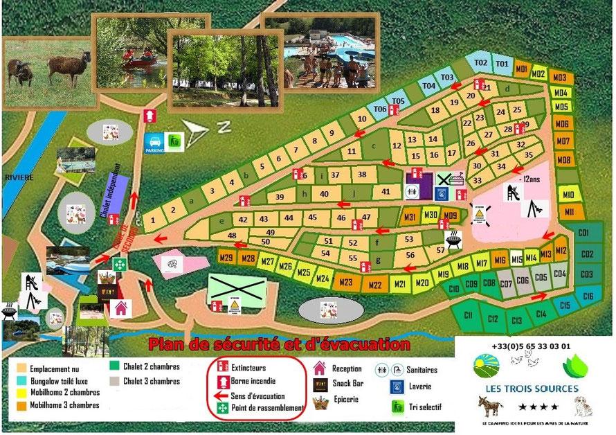 Plan Camping Les Trois Sources - Vallées Lot Dordogne