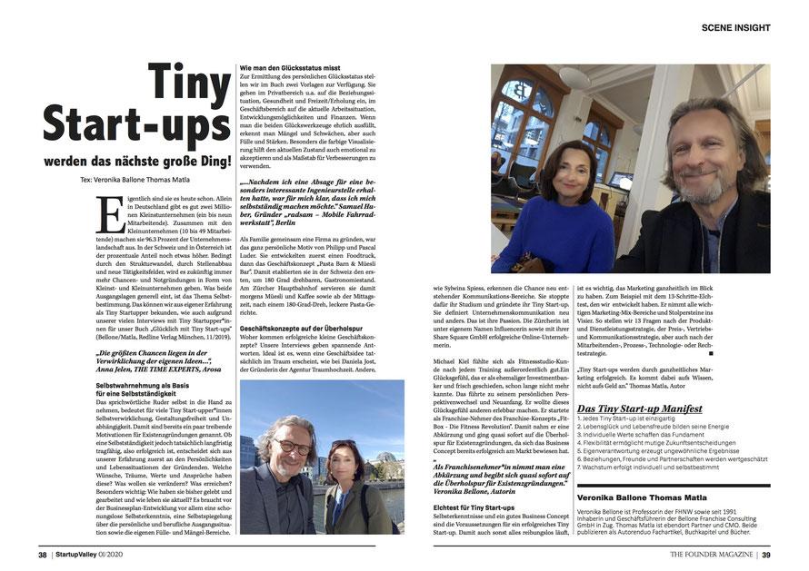 «Startup Valley» 01/2020 Bericht Innenseiten «Glücklich mit Tiny Start-ups» © Foto Bellone Franchise Consulting GmbH