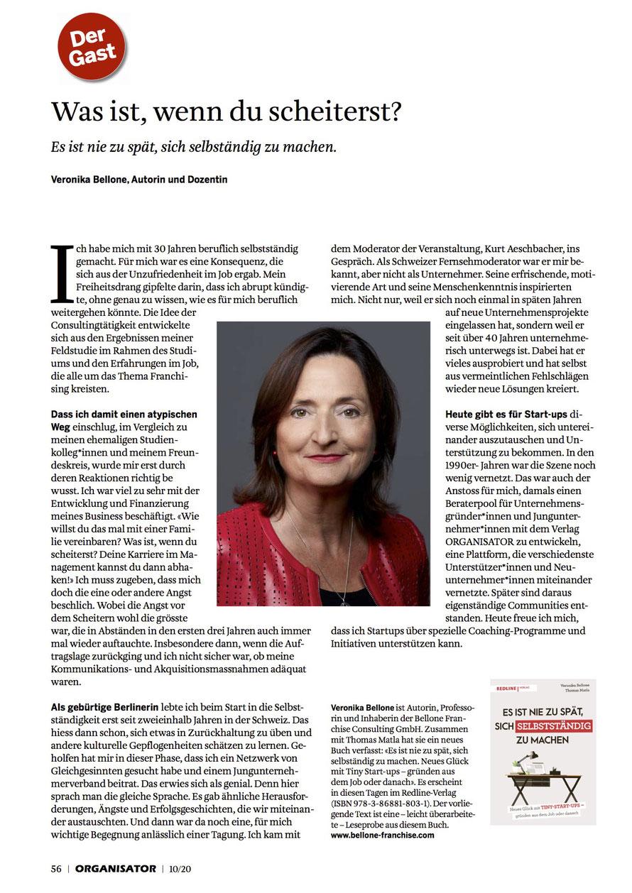 """ORGANISATOR 10/20: Ganzseitiger Gastbeitrag zum Buch """"Es ist nie zu spät, sich selbstständig zu machen"""" © Bellone Franchise Consulting GmbH"""