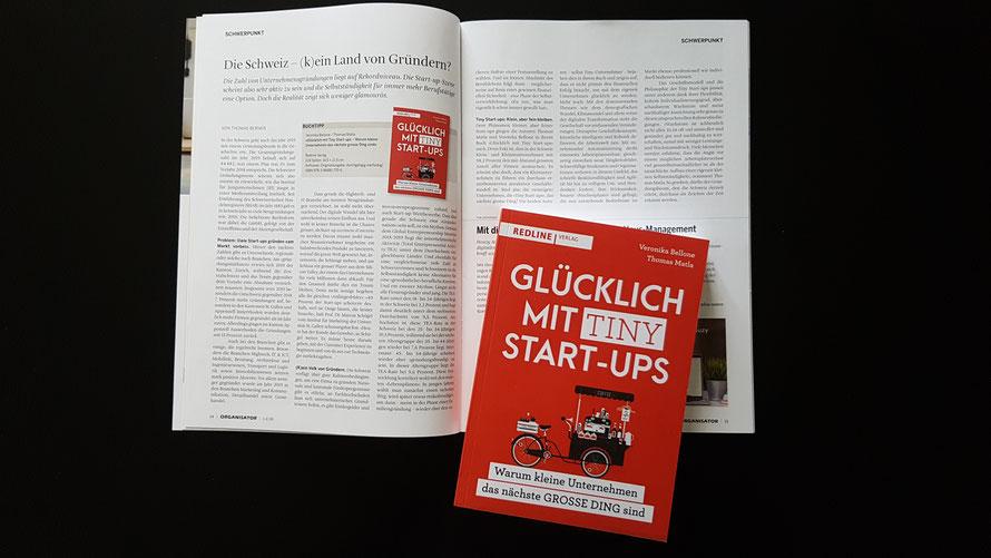Bericht im ORGANISATOR über das Buch «Glücklich mit Tiny Start-ups», Bellone/Matla, Redline Verlag 2019 © Bellone Franchise Consulting GmbH