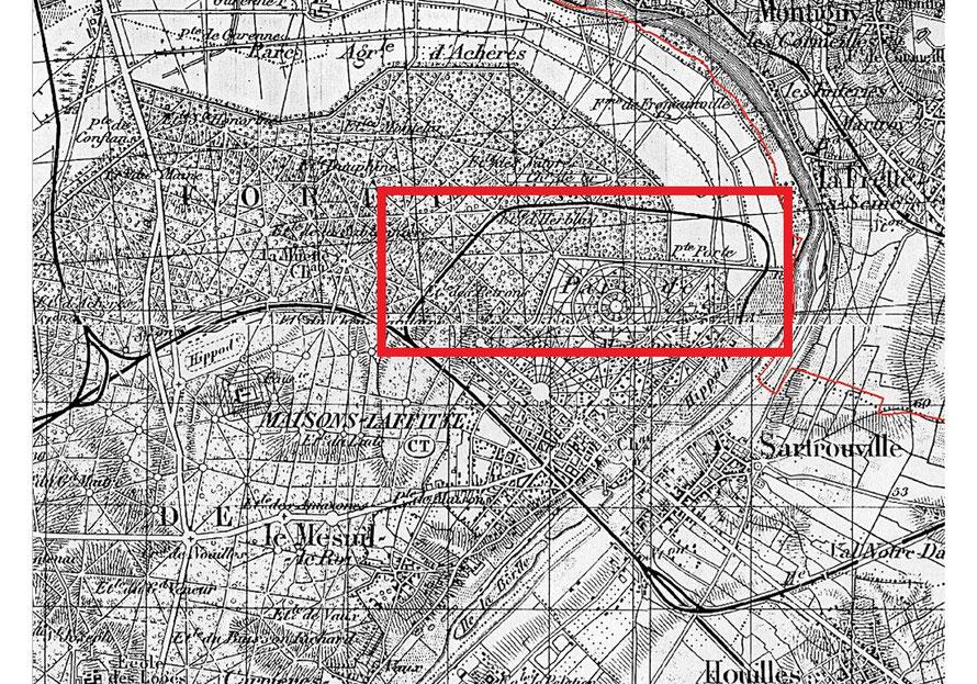 Plan du tracé de la voie ferrée menant à l'hippodrome de Maisons-Laffitte de 1878 à 1939