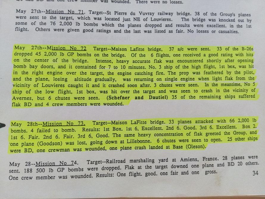 Compte rendu des missions de bombardement du pont de Maisons-Laffitte