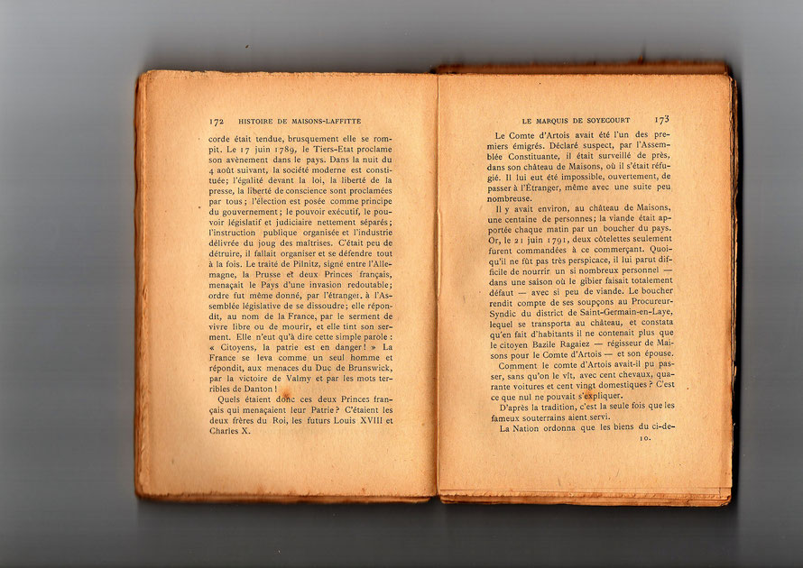 Fuite du Comte d'Artois par les souterrains du château de Maisons-Laffitte publié en 1982 par Léon Galichet