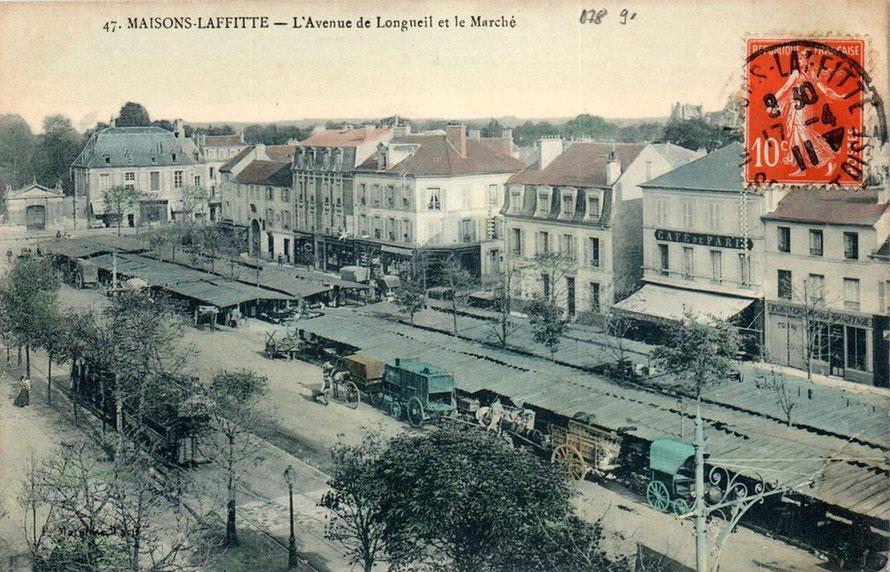 le mareché de Maisons-Laffitte sur l'avenue de Longueil