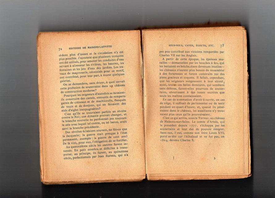 Extrait de l'exploration des souterrains du château de Maisons-Laffitte publié en 1982 par Léon Galichet